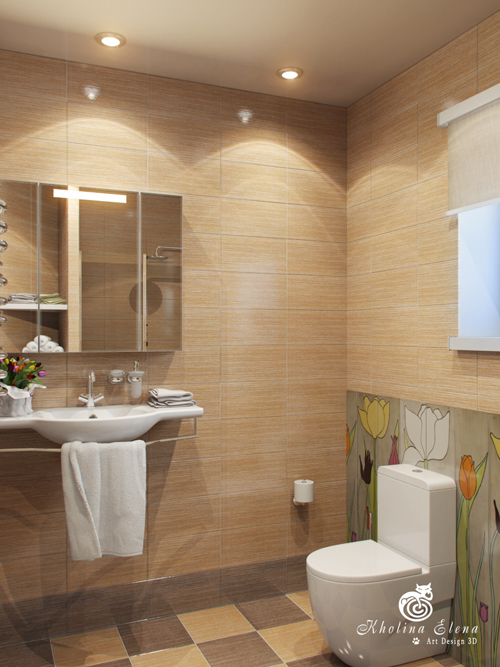 ห้องน้ำตกแต่งด้วยกระเบื้องลายไม้ เรียบง่าย ดูสบายตา