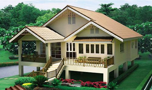 แบบบ้านทรงไทยประยุกต์ บ้านชั้นเดียวยกสูง โทนสีนุ่มนวลด้วยกระเบื้องหลังคาสีส้มอิฐ
