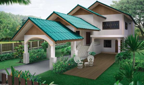 แบบบ้านสวย หลังคาเขียวประกายมุก พร้อมที่จอดรถด้านหน้า