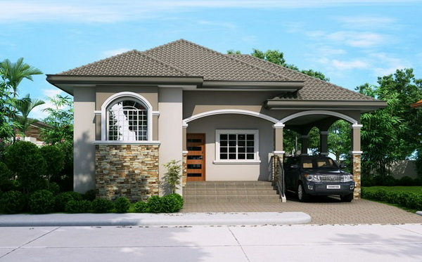 One Storey Asian House With Covered Porch Design
