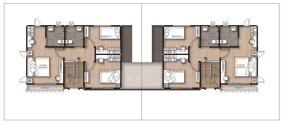 แปลนลงสีบ้านแฝด