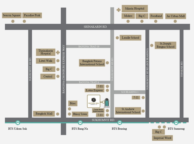 Map Notting Hill – Sukhumvit 105