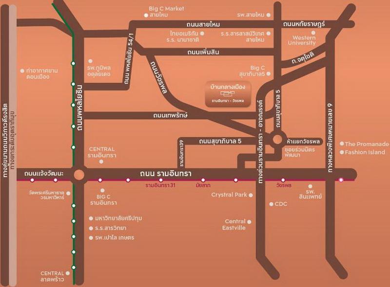 map Baan Klang Muang Ramintra-Watcharapol