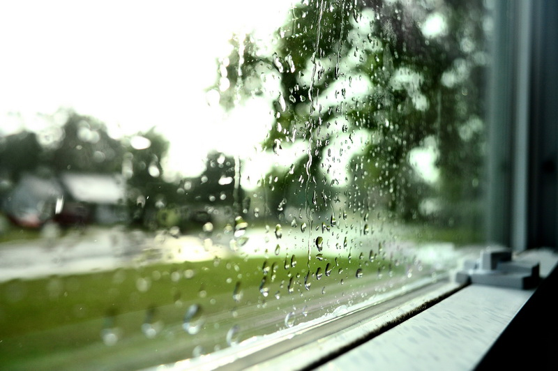 A wet window on a rainy day.