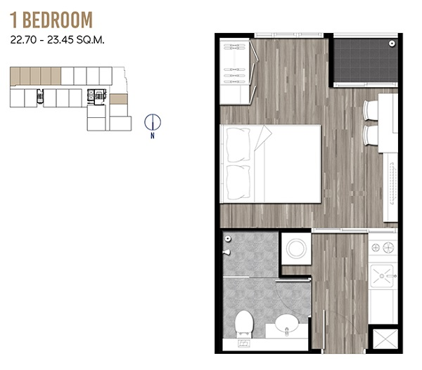 1 Bedroom 22.70-23.45 sqm
