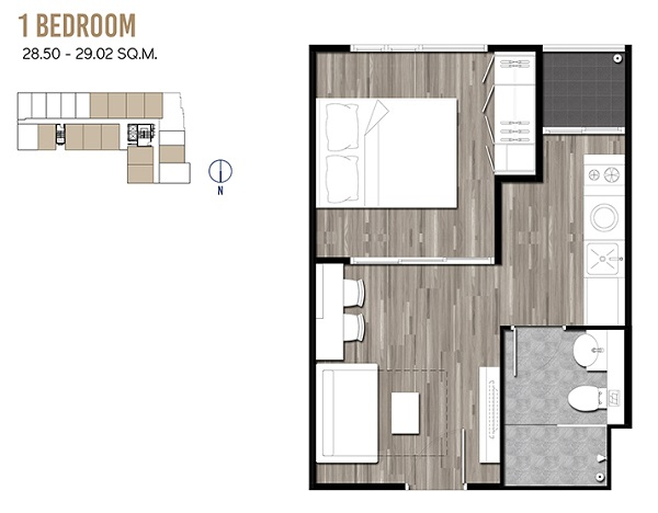 1 Bedroom 28.50-29.02 sqm
