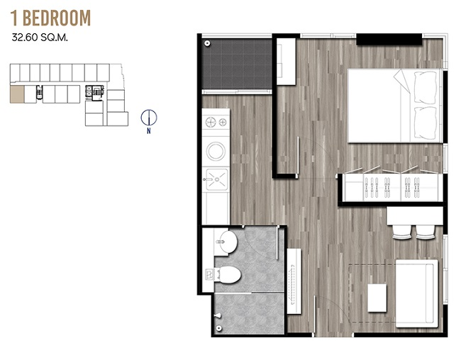 1 Bedroom 32.60 sqm