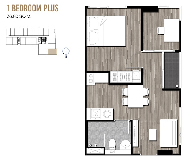 1 Bedroom Plus 36.80 sqm