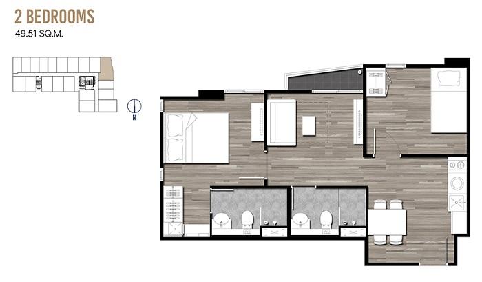 2 Bedrooms 49.51 sqm