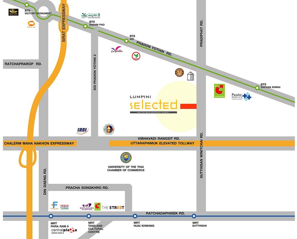 map Lumpini Selected Sutthisan-Saphankwai