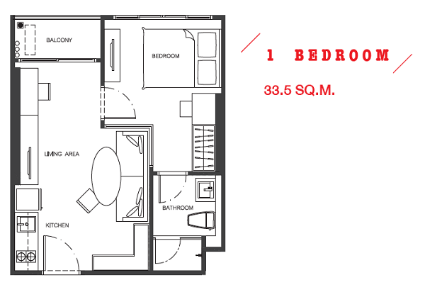 1 Bed + 33.5