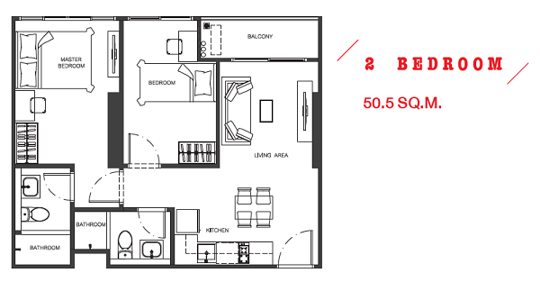 2 Bed 50.5