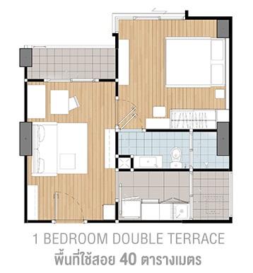 1 Bd Double terrace 40