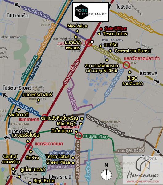 Map อุดม Interchange