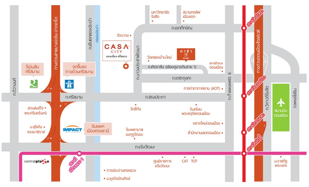 Map Casa City ดอนเมือง ศรีสมาน