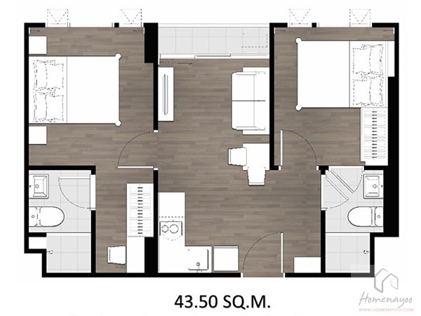 2 bed 43.5